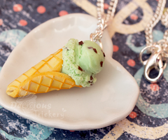 Mint Chip Ice Cream Necklace by DeliciousTrickery