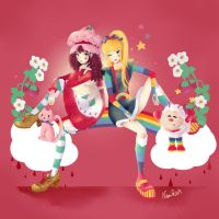 Strawberry shortcake and Rainbow Brite by Sugar-Nami