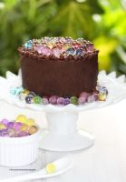 Chocolate Cake with Fruity Caviar by theresahelmer