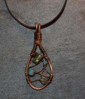 Copper and stone pendant by heartfullofhell