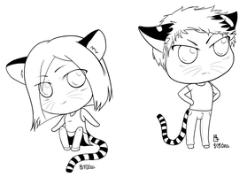 Tiger Twins LINEART by goldendragonqueen32