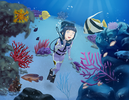 Commission: Hinata's Underwater Adventure by QuantumJinx