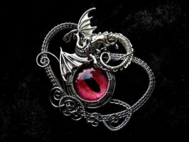 Red Dragon Eye Pendant Brooch - Silver Wire by LadyPirotessa