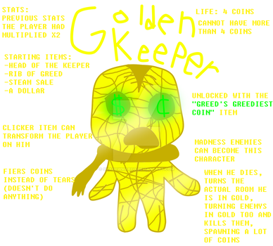 TBOI Character Idea: Golden Keeper by ShadowMarco