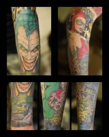 Joker and Harley Tattoo Close Ups by NateTheKnife