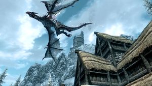 Skyrim Frost Dragon in Flight by micro5797