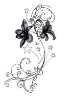 Orchids and Stars Tattoo Desig by YetiFungus