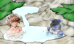 Matthew and Dwight Hot spring by ToaEnemis