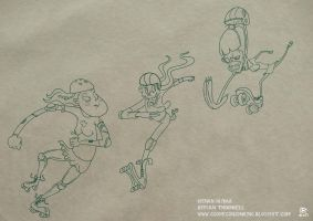 Zombie Roller Derby Concept Art 1 by Cosmic-Onion-Ring