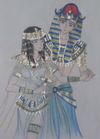 dioses myth  Hathor and Ra by ehatsumi