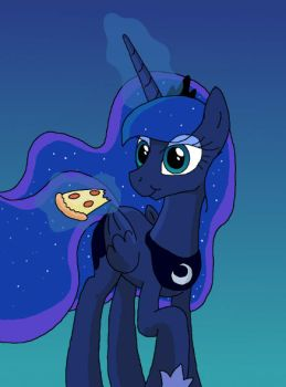 Luna and pizza by manulis