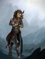 Gnoll in the snow by valravnclaw