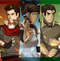 Mako - Korra - Bolin by PencilPaperPassion