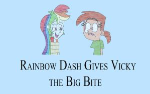 Rainbow Dash Gives Vicky the Big Bite by HunterxColleen