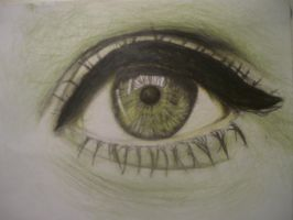 Coloured eye drawing (green) by DancingWithFairies