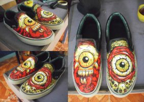 Bone to be Wild vans shoes customize by Elison182