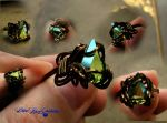 Dryad Tear Ring Size 10 - bronze wire wrap by LadyPirotessa