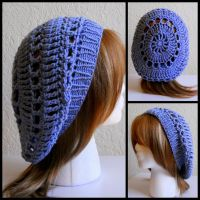 Crochet Blue Hat w Knit Band by StrangeKnits