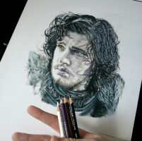 Jon Snow Final Work in Progress by aaronbakerart