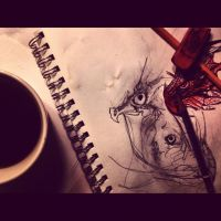 Dragon Doodles and Coffee by tastybedsore