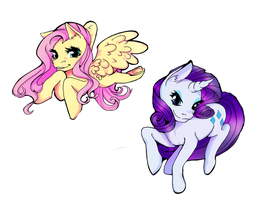 Rarity and Fluttershy by Leefuu