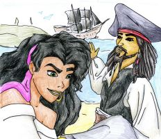 Esmeralda and Jack Sparrow by ElanortheFair