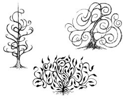 Swirly trees by clearwater-art