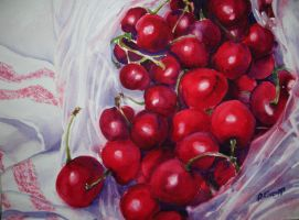 Still life with cherries no. 1 by p-e-a-k