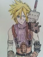 FFVII_Cloud Strife Water Colour by Shinigamichick39