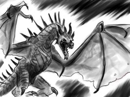 My attempt at a Dragon from Skyrim by Caerulai