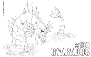 Gyarados line art by r7ll