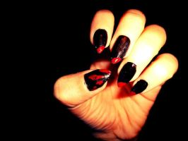 Halloween cat nails by lioness14