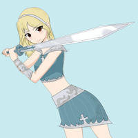 girl with sword from base by Poke-chann