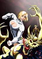Power Girl and Constantine - Hellblazers by adamantis