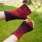 Red print hand warmers by anitheya
