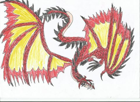 flamewing dragon by smaugthegolden123