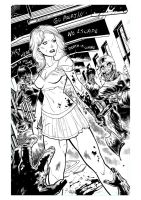 Zombie Vs Cheerleader cover inks by xavor85