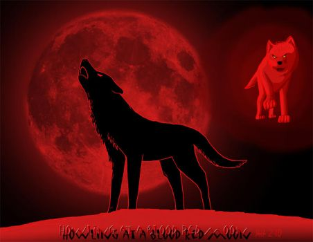 Howling at a blood red moon by DragonWolfACe by Darklightning001