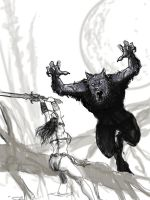 Famous Monsters Werewolf Cover Sketch by HalHefnerART