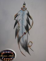 Eagle Feather drawing by theothertattooguy