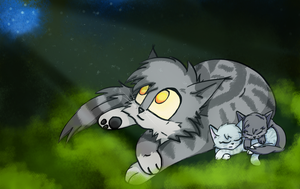 Graystripe with kits :3 by X-BlackPearl-X
