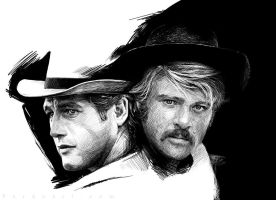 Robert Redford and Paul Newman by pardoart