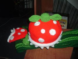 Super mario Piranha plant hat and scarf by Nanettew9