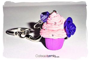 Pink Lavender Glitter Cupcake Keychain by Cateaclysmic