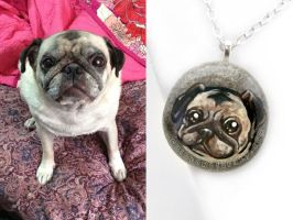 Custom Pug Pendant Necklace by sobeyondthis