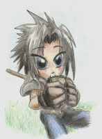 FF7 - Mini Zack and a Sammich by Saiyakupo