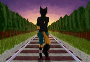 Railway to the Sunset by Derbasune