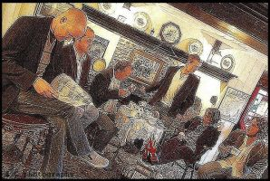 tea in the pub by Damnedali