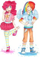 Humans Pinkie and Dash by MishaChanX
