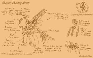WTWE Weapon Designs: Equine Barding Armor by QuirkyWallace